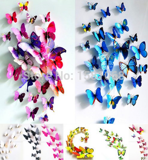 New Gossip Girl Same Style 24pcs 3D Butterfly Wall Stickers Butterflies Decors For Home Fridage Decoration