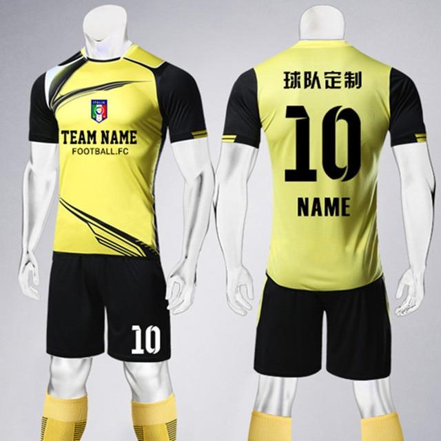 32a54de3fb7 Men Soccer Jerseys Sets Adult Survetement Football Volleyball Sport Kit Team  Uniform Breathable Training Suit Customize Print
