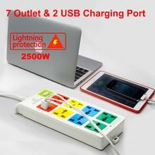 3 м длина 8 способов Универсальный pinboard 2 USB порта зарядного устройства с EU UK US BR IL AU