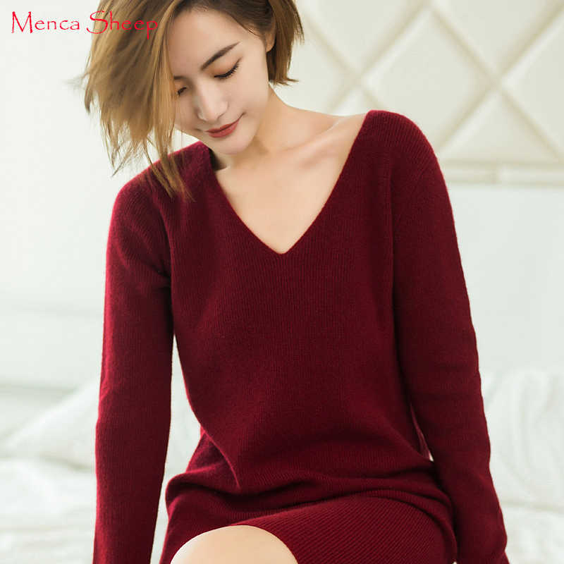 New Arrival Longer Jumpers Women 100% Cashmere Sweater Ladies Vneck Fashion Pullovers Hot Sale long Sweater dress Female Tops