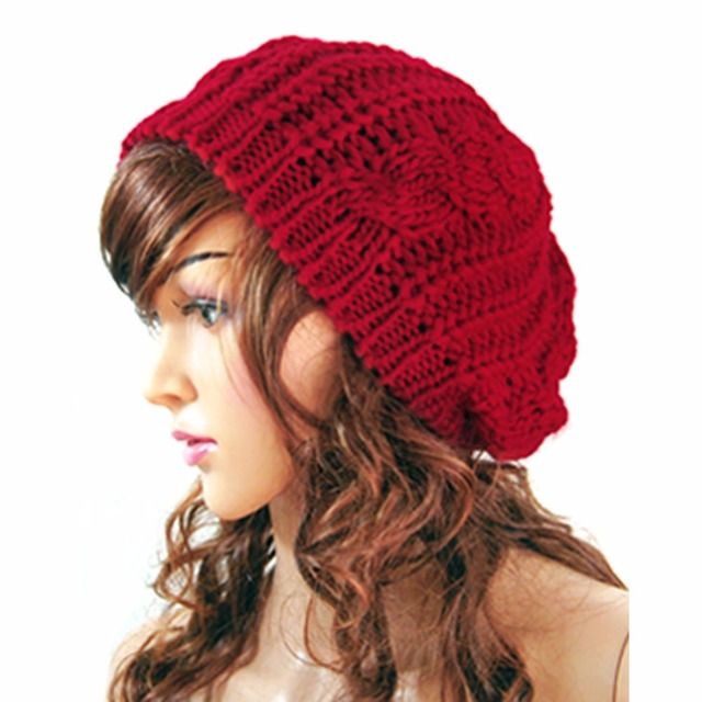 ec0c30d6dc5 Hot sale New Winter Women Hat Warm Knitted Crochet Slouch Baggy Beret Beanie  Hat Cap For Women bonnet femme