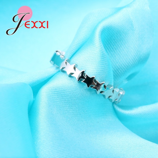 JEXXI Star Trail Stackable Finger Ring For Women Wedding 100% S90 Silver Jewelry 2018 New Hot Sale Female Anillos