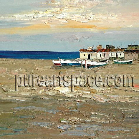 Handmade Beautiful Mediterranean Scenery With <font><b>Boat</b></font> Blue Seascape Canvas Art Oil Paintings By Pallete <font><b>Knife</b></font> Wall Art image