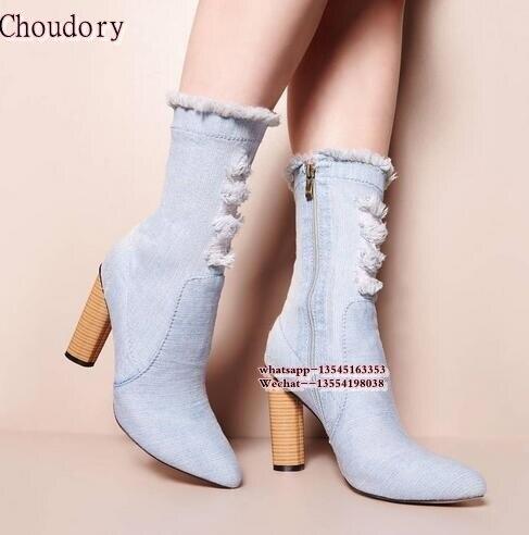 New Arrvials 2018 Fashion Chunky Heels Woman Blue Denim Ankle Boots Pointed Toe Woman Elasticity Boots Zipper Dress Shoes Woman женское платье woman new brand o 2015 woman dress