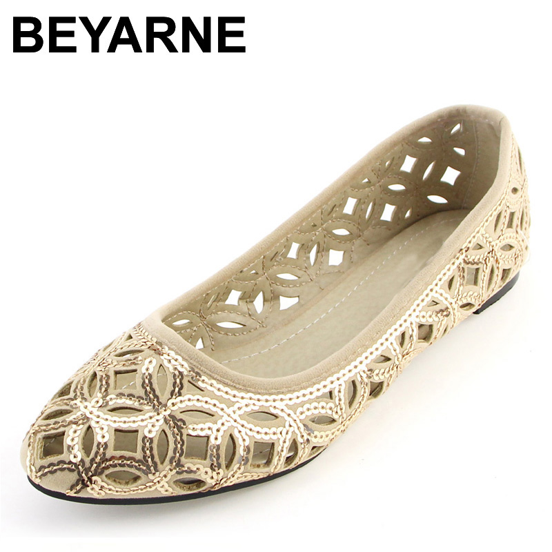 BEYARNE New Arrival Women's Flats Fashion Summer Shoes Cut-Outs Flats for Women Flat Heel Shoes Plus Size 41 Free Shipping 2018 new women shoes ballet flats fashion cut outs flat women shoes sweet hollow out summer female breathable casual shoes