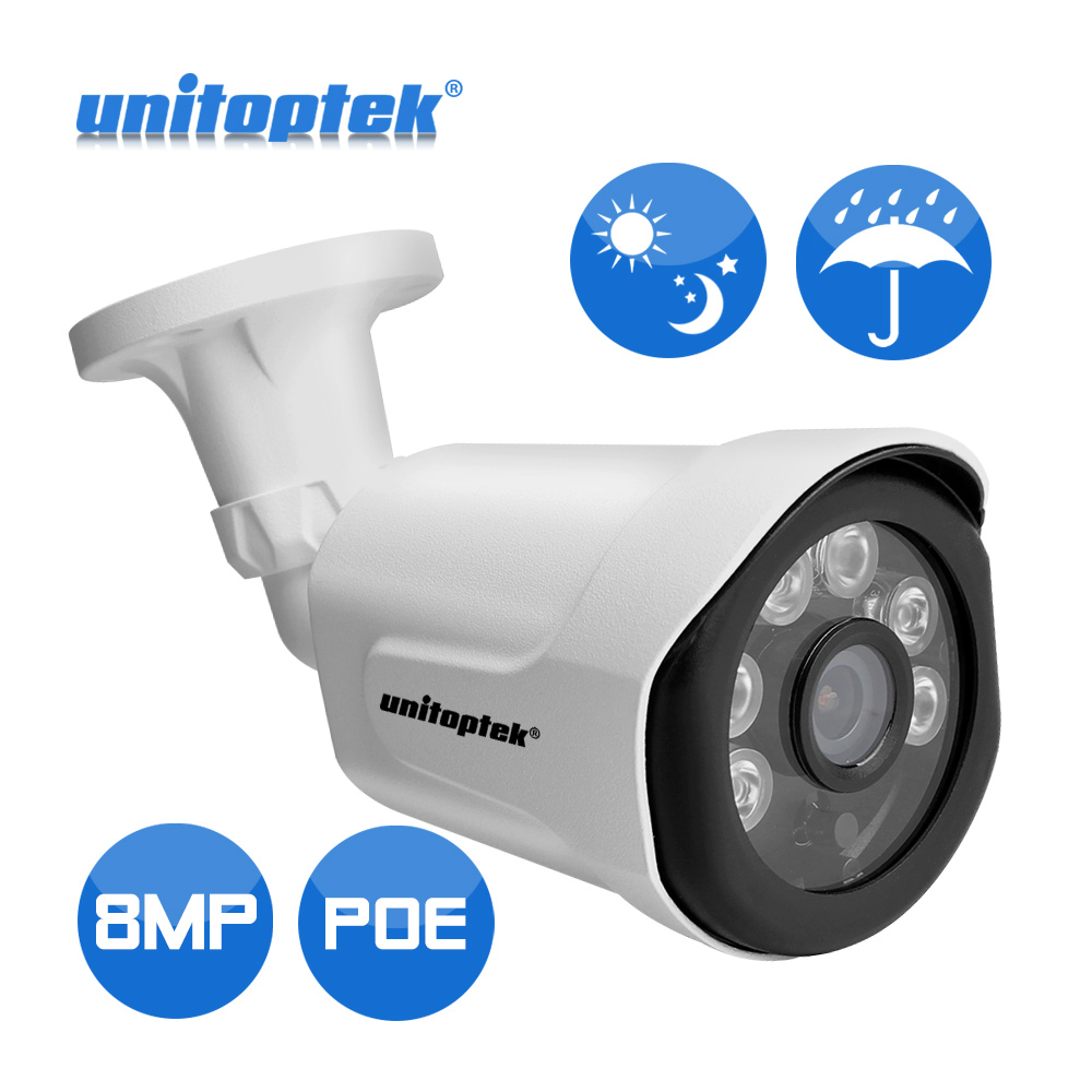 48V POE Ultra HD Bullet IP Camera Outdoor 8MP 4K Surveillance Security Video Camera IP IR Night View Motion Detect Alert Record