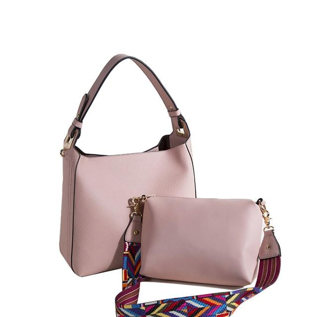 bd089b8682 New Arrival Women Handbag 2 sets Fashion Tote Bag Comfortable Wide Strap  Shoulder Bags Women Hobo Messenger Bag Casual Bag Lady