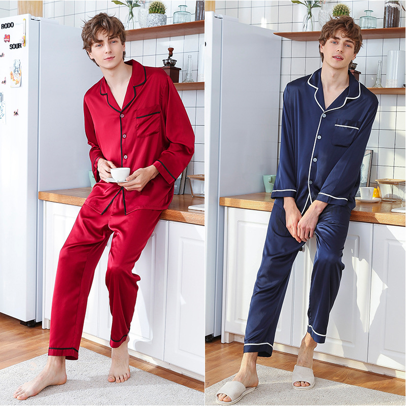 Men's Long-sleeved Shirt + Trousers 2pcs Sleepwear Ice Silk Satin Suit Set Nightgown Leisure Youth Students Homewear J058