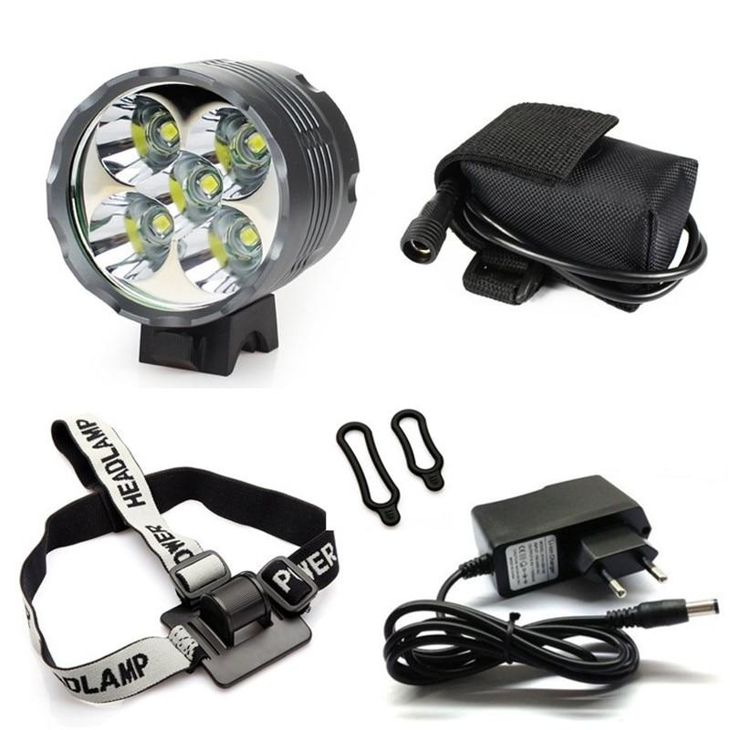 Lantern XM-L 5x T6 Bicycle Light Headlight 7000 Lumen LED Bike Light Lamp Headlamp + 8.4V Charger + 9600mAh Battery Pack