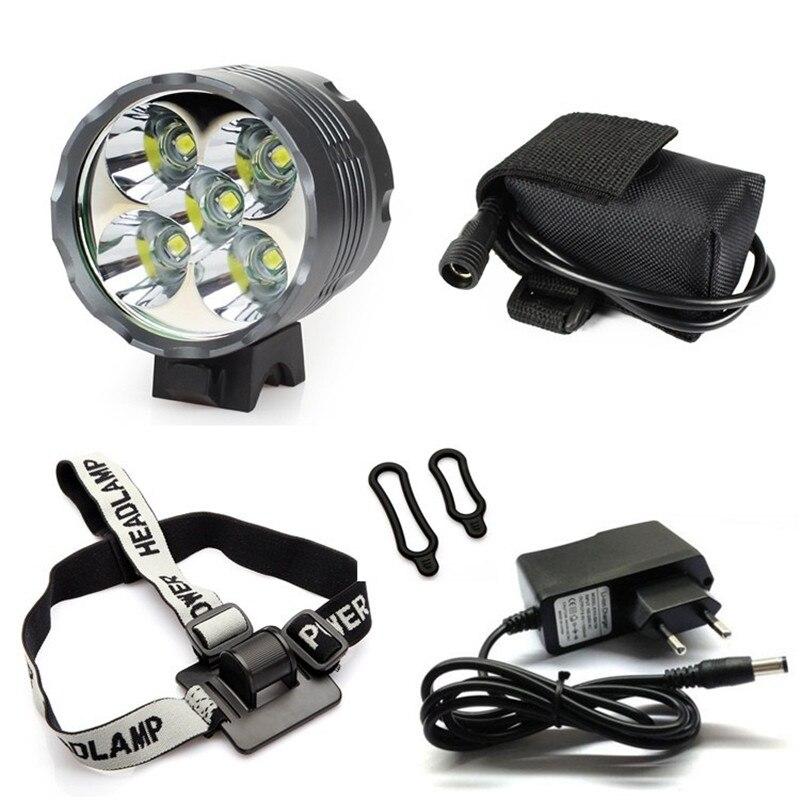 Laterne XM-L 5x T6 Fahrrad Licht Scheinwerfer 7000 Lumen LED Fahrrad Licht Lampe Scheinwerfer + 8,4 v Ladegerät + 9600 mah Akku