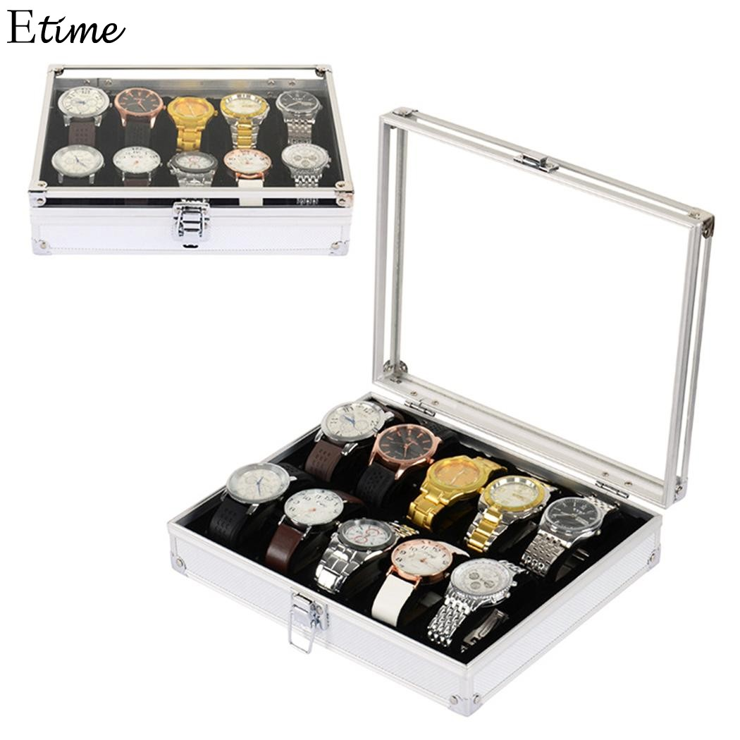 FANALA 12 Grid Slots Watch Box Metal Buckle Watch Winder Boite Montre Jewelry Watches Display Storage Box Case Caja Reloj