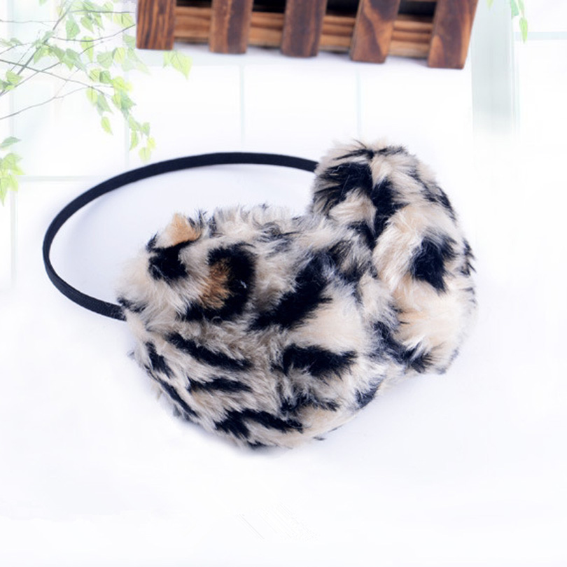 YSDNCHI Earmuffs Candy Color Plush Ear Warmers Protector Autumn Leopard Earmuffs Winter Thermal Unisex Sweet Fashion
