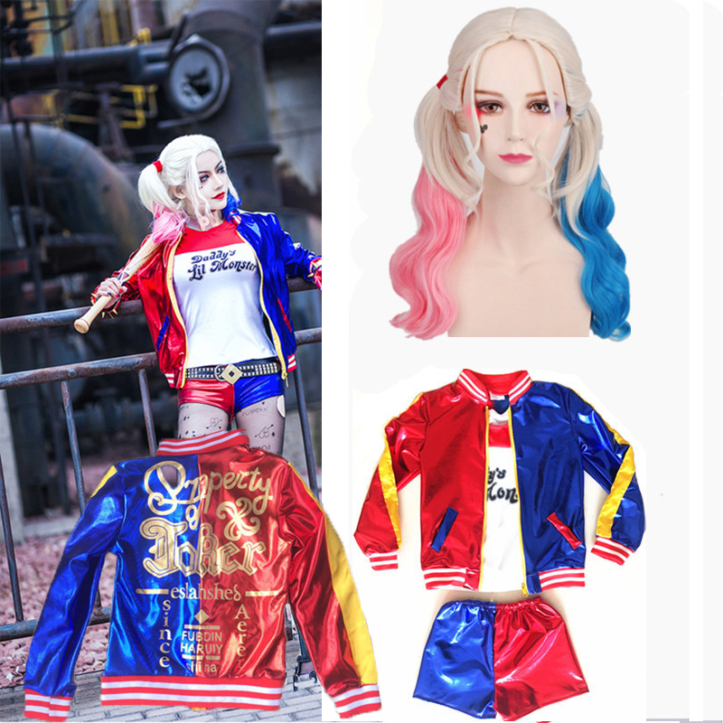 Girls Kids Harley Quinn Costume Cosplay JOKER Suicide Squad Christmas New Year Purim Party Jacket sets Chamarras De Batman
