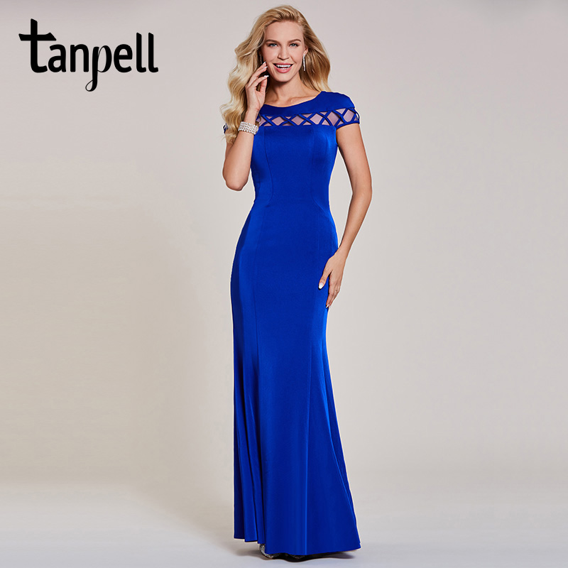 Tanpell mermaid evening dress luxury dark royal blue cap sleeves floor length gown women wedding party