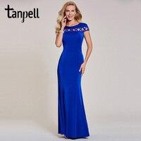 Tanpell Mermaid Evening Dress Luxury Dark Royal Blue Cap Sleeves Floor Length Gown Women Wedding Party