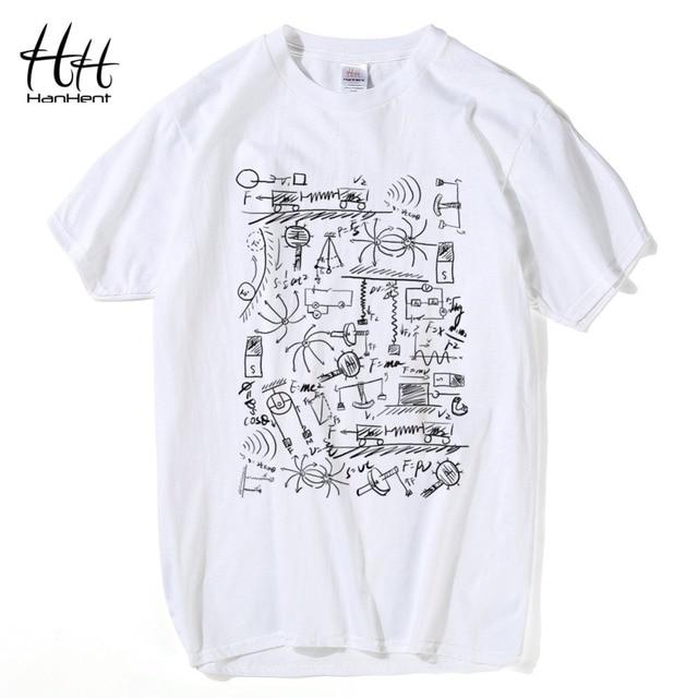 60bb066a3 HanHent física camisetas hombres creativo Casual Camiseta de manga corta  Camiseta de algodón matemáticas Tops The