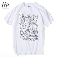 HanHent Physics Math T Shirts Men Creative Short Sleeve Tee Shirts Fashion Cotton Tops The Big