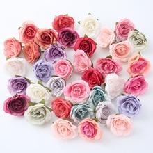 10 개/몫 인공 꽃 4 cm 실크 웨딩 파티 홈 장식에 대 한 머리 장미 diy 꽃 벽 스크랩북 공예 가짜 꽃