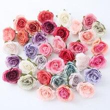 10pcs/lot artificial flower 4cm silk rose head For wedding party home decoration DIY flower wall scrapbook craft fake flower
