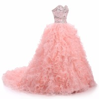 Shining Crystals Bead Ball Gown Tiered Organza Sweetheart Quinceanera Dresses Ruffles Formal Dresses Sweet 16 Prom PINK Gown
