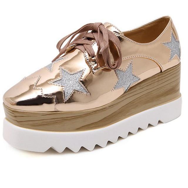 8 цвет женщины creepers повседневная обувь корк печати платформы клинья обувь площади toe насосы высоких каблуках легкую обувь женщина розовый золото