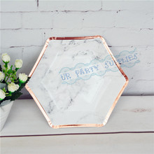 32pcs Foil Rose Hexagon Marble Plates Geometric Tribal Birthday Decorations Bridal Shower Baby Graduation Tableware