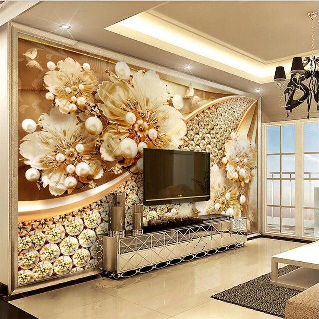 beibehang Custom Wallpaper 3D Stereo Jewelry Flower Diamond ...