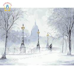 Зима sonw модульные картины diy Ручная роспись по номерам на окрашивание холста акриловая краска живопись по номеру домашний декор YA130