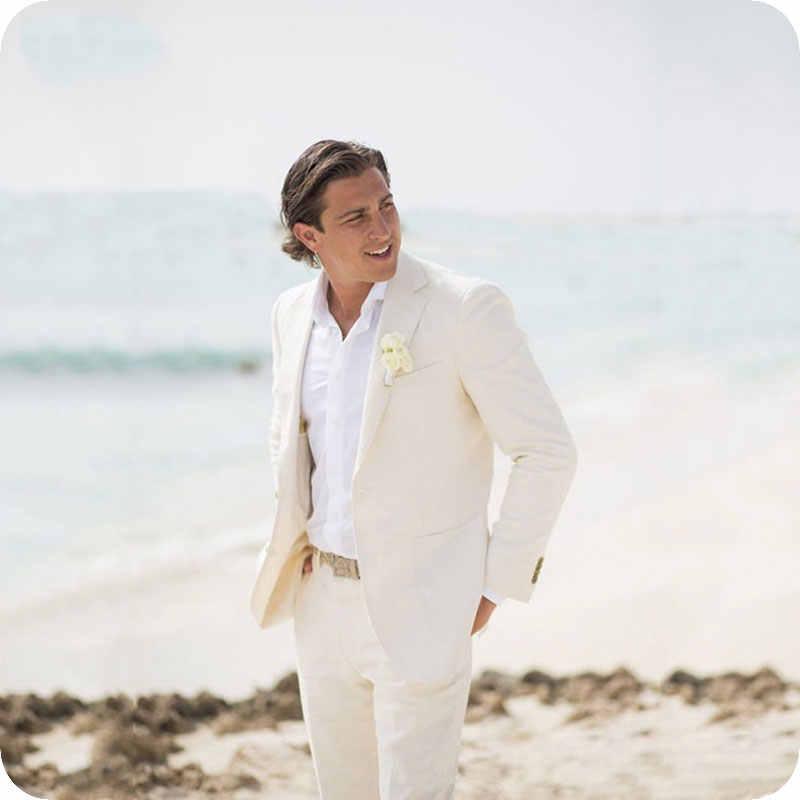 夏ビーチアイボリーリネン男性用ウェディングスーツスーツ男ブレザースリムフィットカジュアルウェディングテーラーメイドのタキシード最高の男 2 個衣装