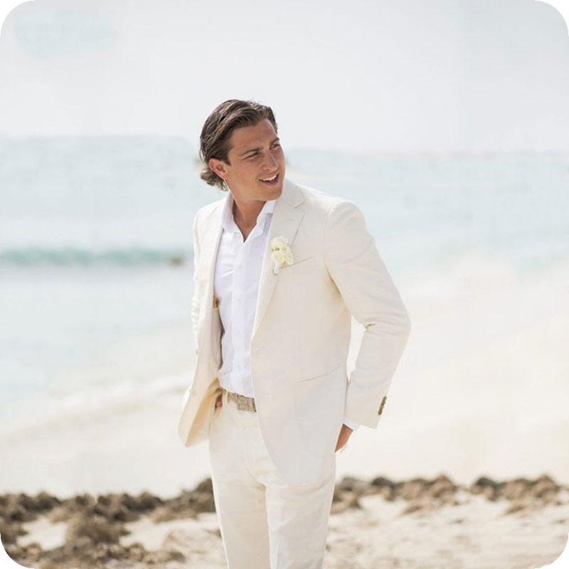 Playa de verano de lino marfil para hombres trajes de boda para hombre  Chaqueta Slim Fit Casual baile de graduación hecho a medida esmoquin mejor  hombre 2 ... 6c758afff9f