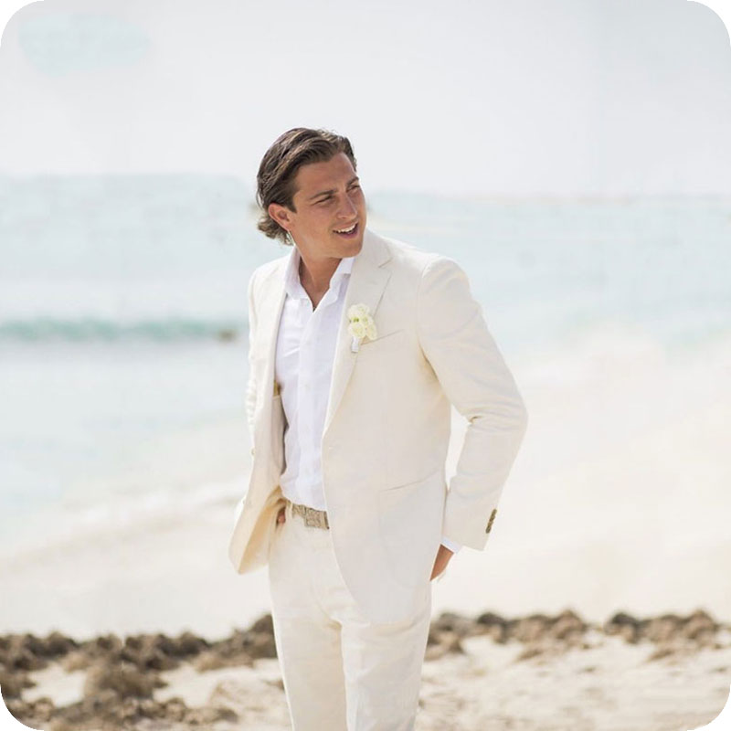 Summer Beach Ivory Linen Men Suits Wedding Suits For Man Blazer Slim Fit Casual Prom Tailor Made Tuxedo Best Man 2Pieces Costume