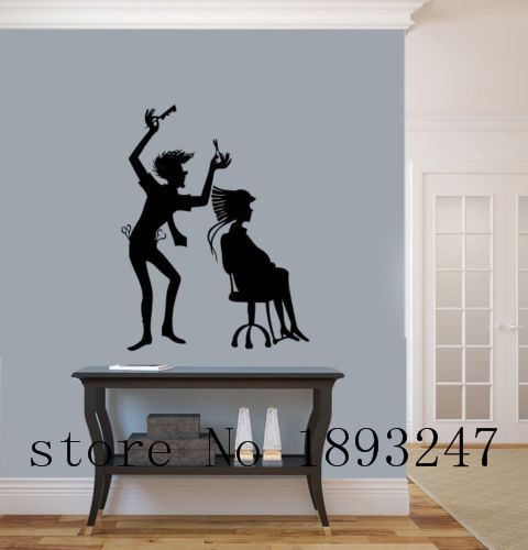 Hair salon wall decal beauty creative design hair stylist for Stickers salon design