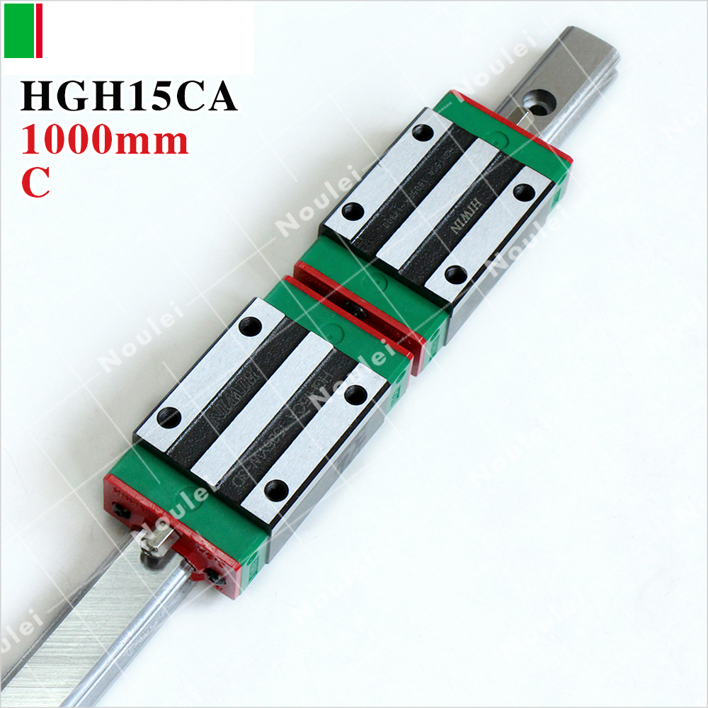 HIWIN HGH15CA slider block with 1000mm linear guide rail HGR15 1000 mm for CNC kit guia linear 1000mm tbi 2pcs trh20 1000mm linear guide rail 4pcs trh20fe linear block for cnc