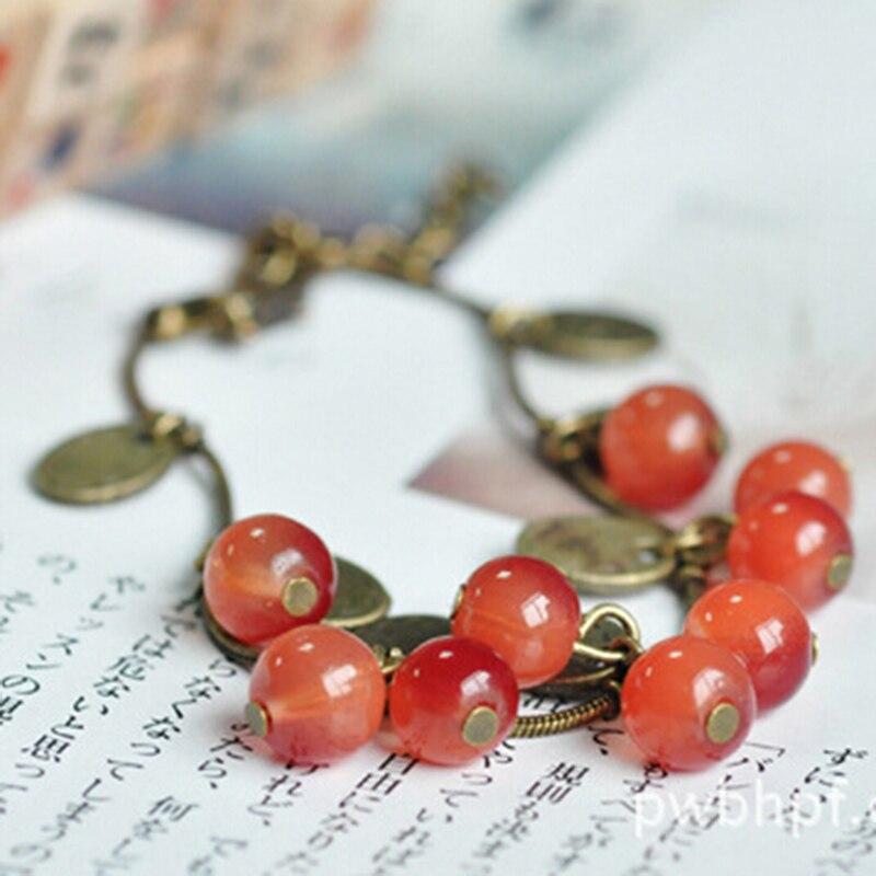 Brand New Fashion Lovely Fruit Bangles Cute Cherry Charm Beads Bracelet for Girls