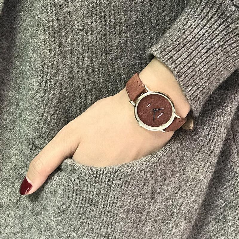 Fashion Casual Ladies Quartz Wrist Watch Brown Simple Retro Women Watches Ulzzang Luxury Brand Female Vintage Leather Clock