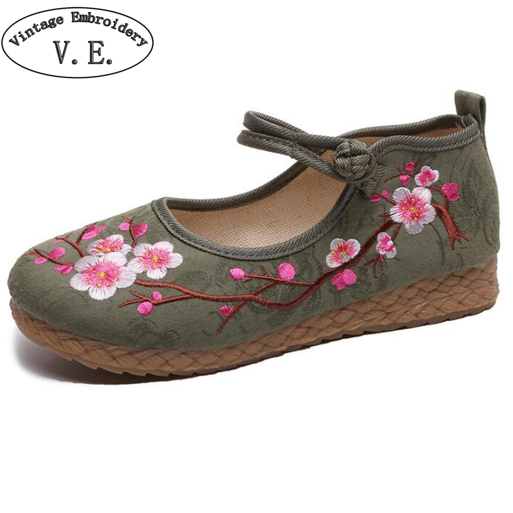 Chinese Women Flats Linen Shoes Vintage Boho Cotton Canvas Floral Embroidered Cloth Shoes Woman Soft Woven Round Toe Ballets
