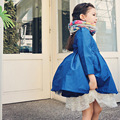 Revestimento do Revestimento de Trincheira Da Menina do bebê Roupas Crianças das Crianças Outerwear & Casacos Azul Marinho Enrugada Crianças Princesa Roupas de Festa de Natal