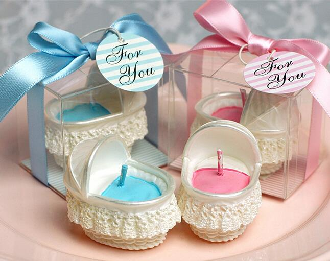ivory bassinet basket cradle shaped smookless candle baby shower baptism party favor children gift present baby