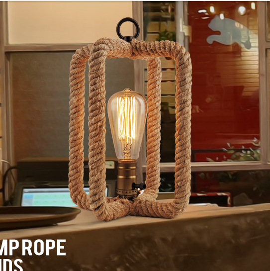 Vintage Rope  Loft table lamp Creative Personality Industrial Lamp Edison Bulb American Style For Living Room decorationVintage Rope  Loft table lamp Creative Personality Industrial Lamp Edison Bulb American Style For Living Room decoration
