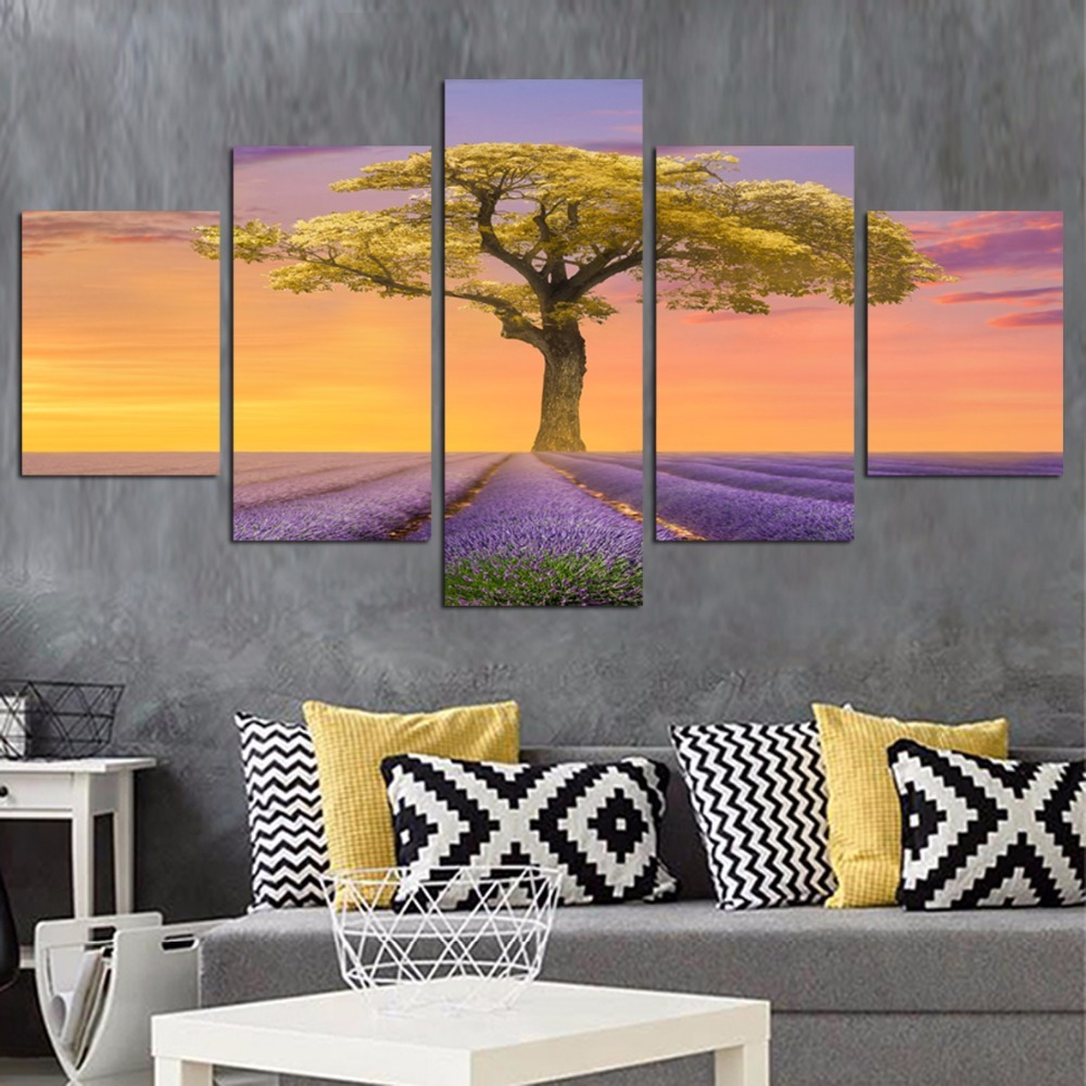 5 Panel Modern Printed Tree Oil Painting Cuadros Decoracion Forest Landscape Art Wall Pictures For Living Room Unframed XY FA417