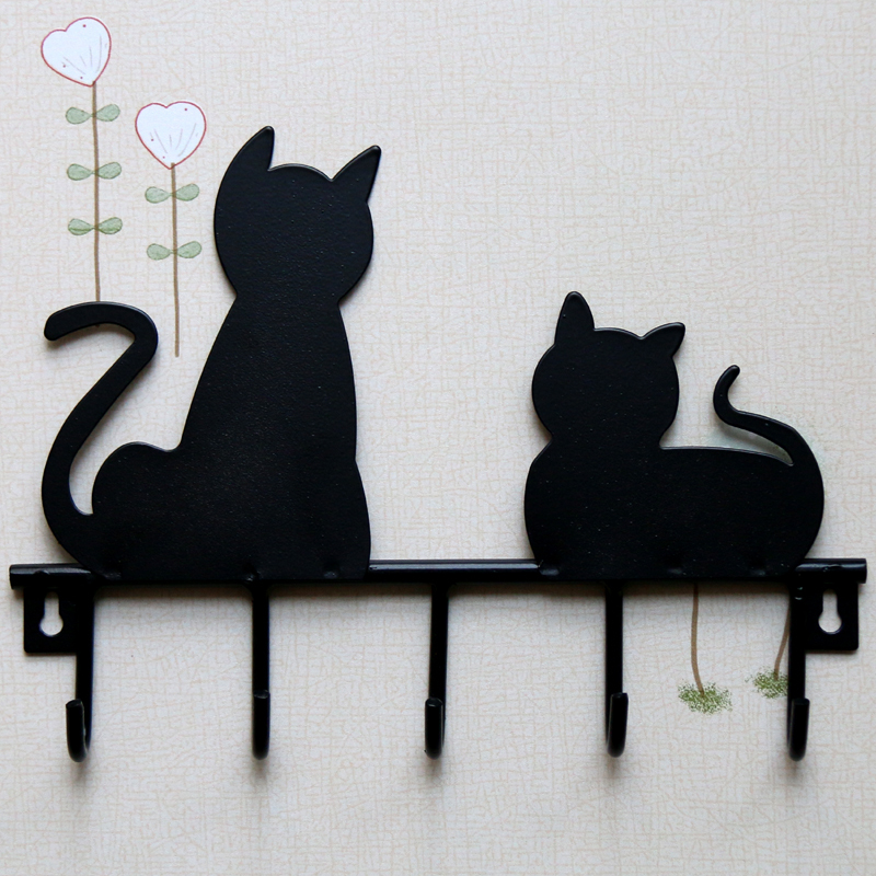 Fashion Black cat design Metal Iron Wall Door Mounted Rustic Clothes Coat hat key hanging Decorative Wall Hooks Robe Hanger