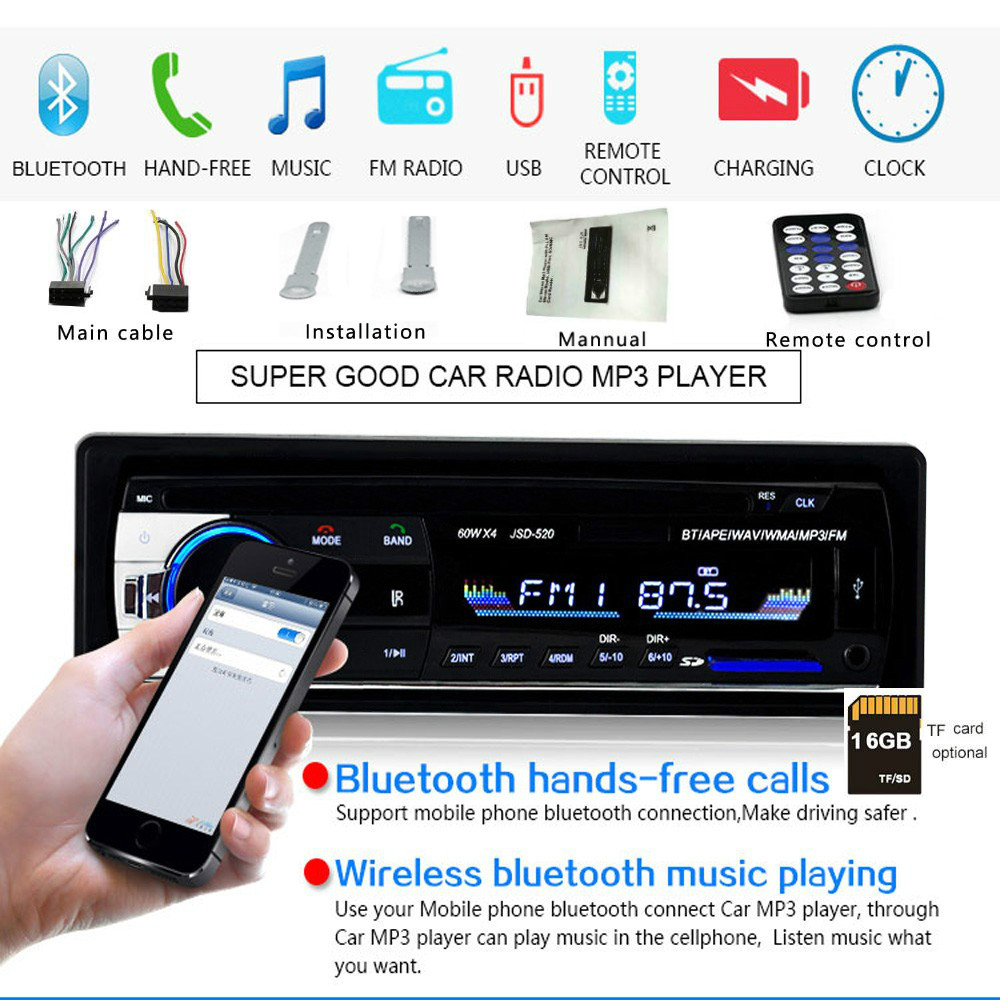 Car Radio Bluetooth FM Stero USB SD AUX Audio Player Auto Electronics Subwoofer In-Dash 1 DIN Autoradio ISO 12Pin image