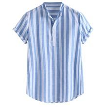 Męskie bawełniane lniane koszule w stylu Casual w paski Henry koszule kołnierzykowe z krótkim rękawem bluzka koszula męska lato 2020 nowości koszule męskie tanie tanio feitong COTTON Linen Stojak Pojedyncze piersi REGULAR Shirts Suknem Na co dzień blouse Men harajuku roupa feminina Men blouses ladies tops blusa mujer