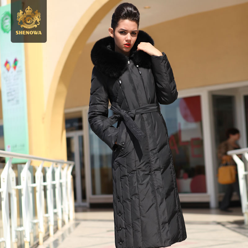 2014 Direct Selling New X-long Women A Luxury Fox Fur Collar Coat Lengthen Over Knee Plus Size Hooded Down Jackets Ems Fedex