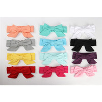 6PCS Lot New Baby Cotton Cute Bow Headband Child Girls Lovely Solid Wide Hair Bows Kids