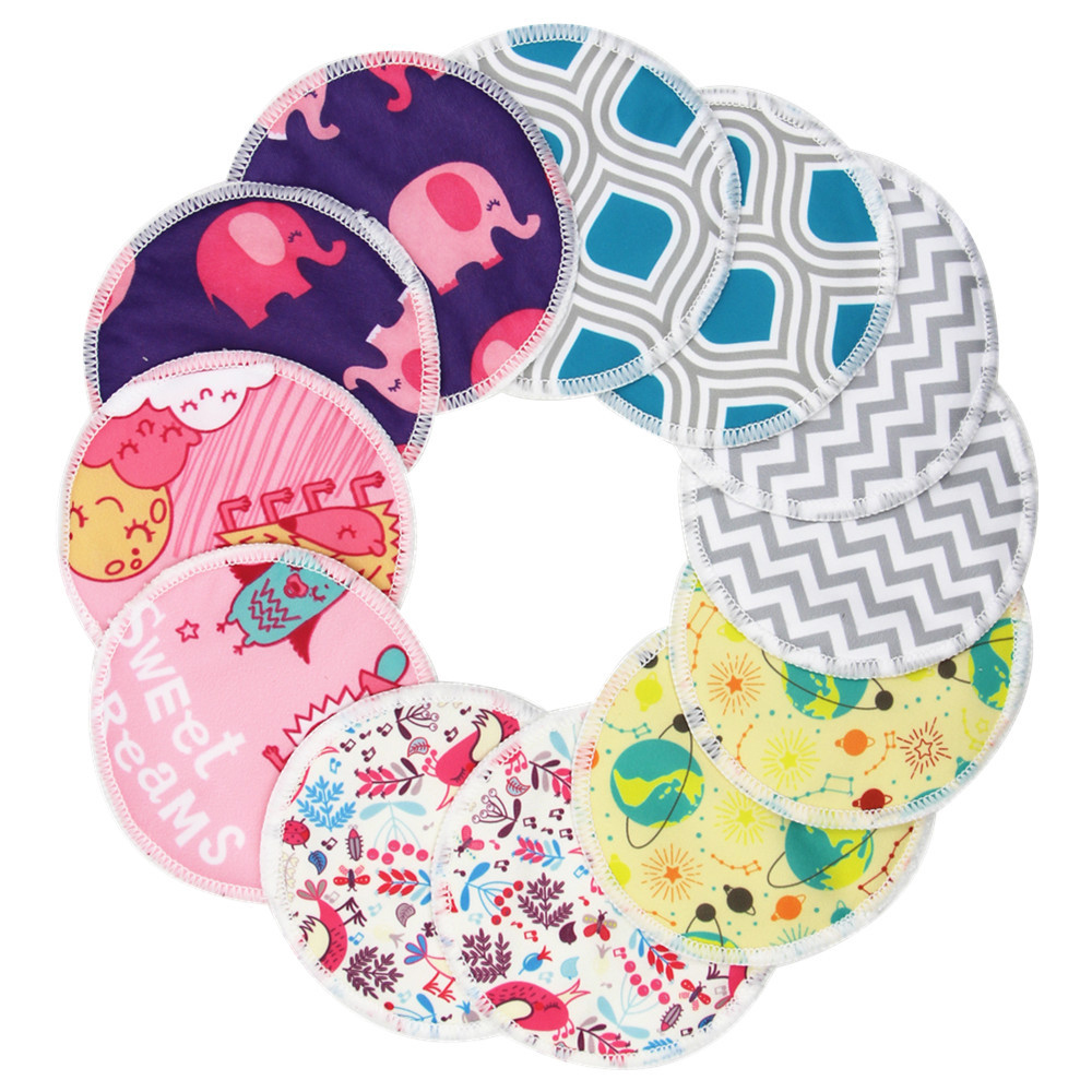 5pcs Anti-overflow Breast Pads Reusable Washed Nursing Pad Three Layers Bamboo Cellulose Milk Pad Postpartum Mother Supplies