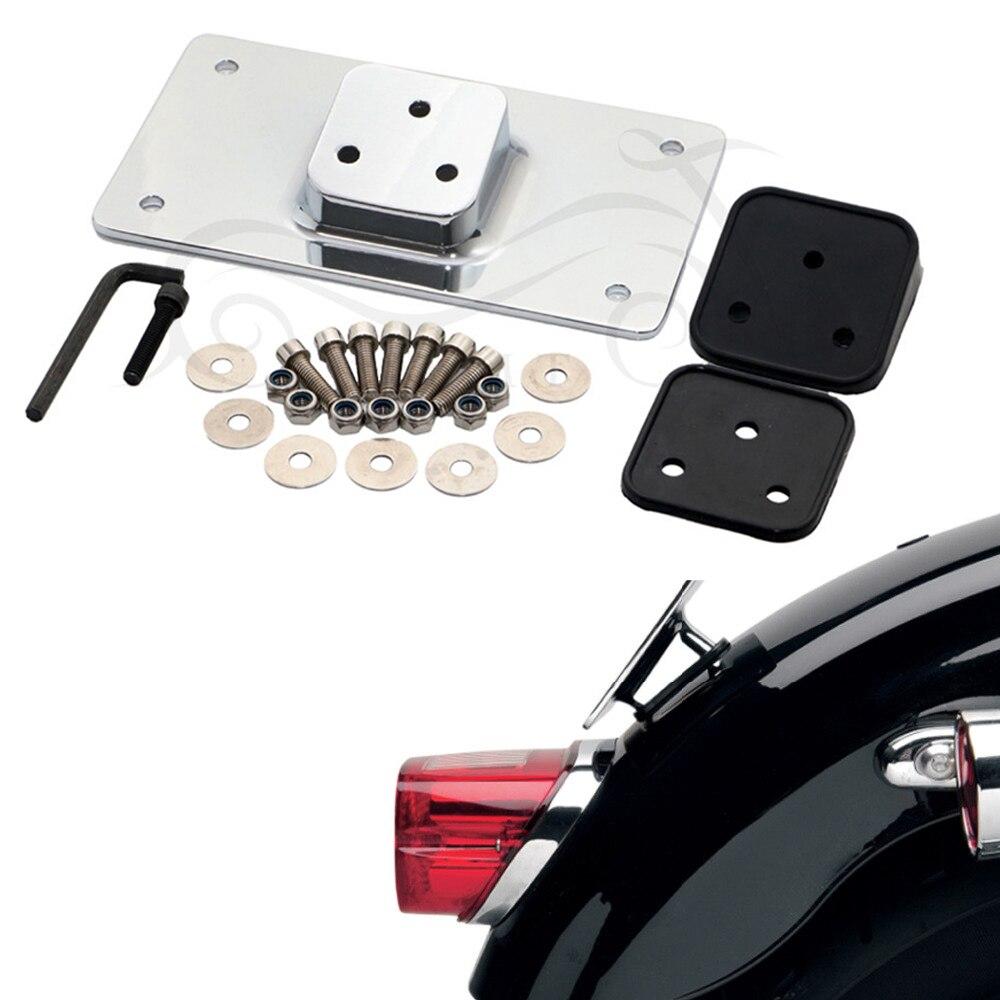Chrome Laydown Tilt License Plate Frame Mount for Harley Sportster Dyna Softail