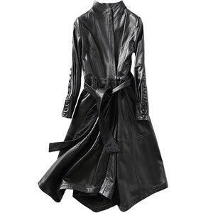Роскошная натуральная овечья кожа замшевое пальто куртка Дамское Платье весенне-осенняя женская верхняя одежда х-длинная одежда LF9026