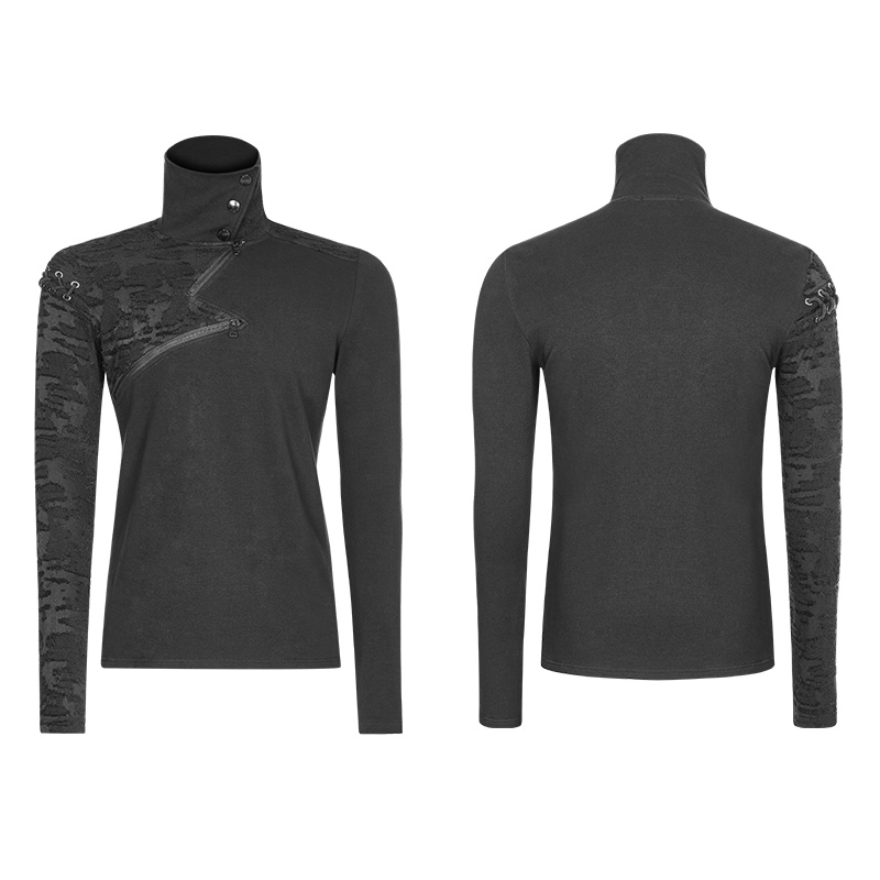 PUNK RAVE New Punk High Collar Comfortable T Shirt Rock Gothic Personality Casual Men S Shaped Long Zipper Cool Street Shirt - 4