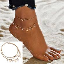 Bohemian Pearl Anklet Heart shape Letters Multilayer Anklet Bracelet on the leg chain for women girls summer Beach foot Jewelry chic multilayer small bells anklet for women